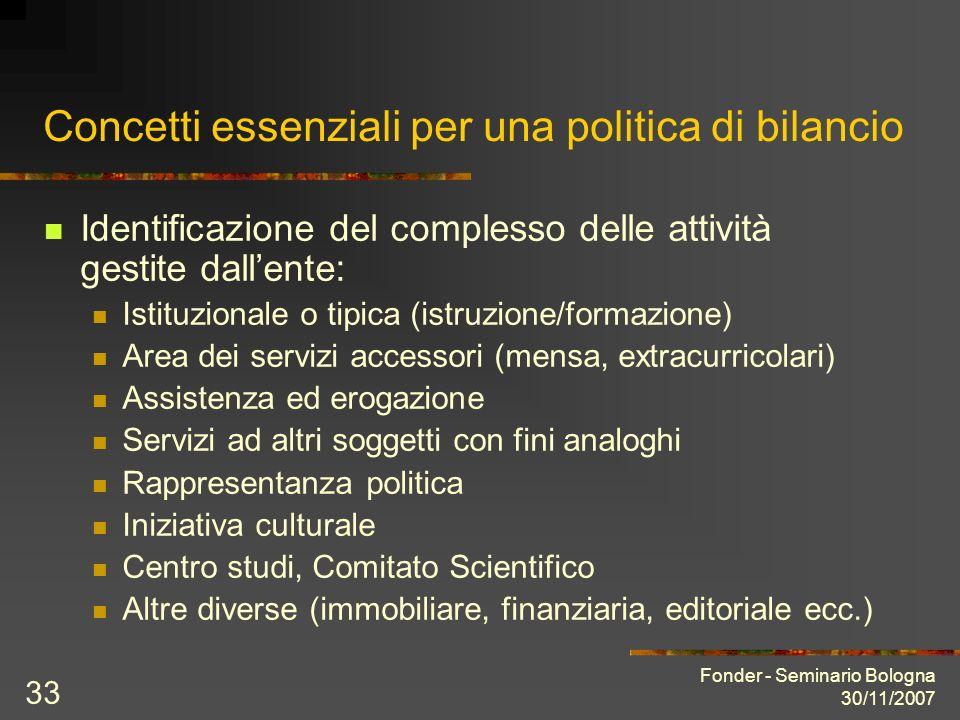 Fonder - Seminario Bologna 30/11/2007 33 Concetti essenziali per una politica di bilancio Identificazione del complesso delle attività gestite dallent