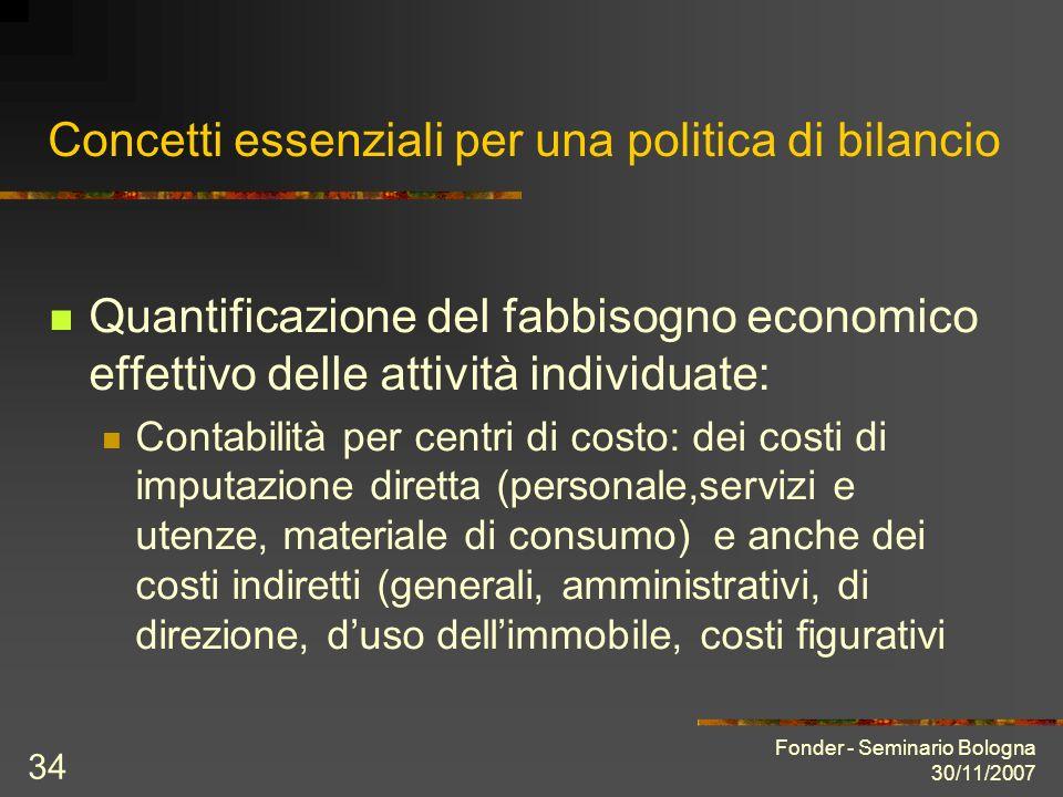 Fonder - Seminario Bologna 30/11/2007 34 Concetti essenziali per una politica di bilancio Quantificazione del fabbisogno economico effettivo delle att