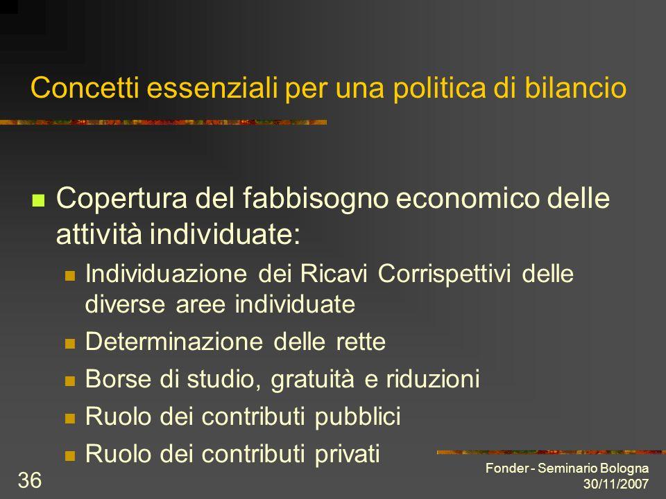 Fonder - Seminario Bologna 30/11/2007 36 Concetti essenziali per una politica di bilancio Copertura del fabbisogno economico delle attività individuat