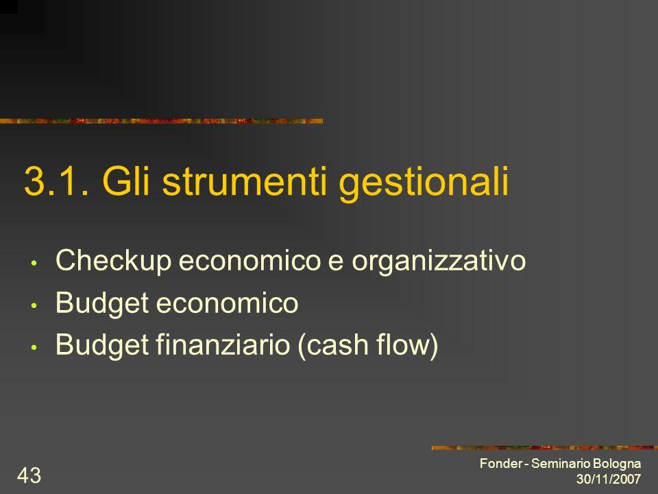 Fonder - Seminario Bologna 30/11/2007 43 3.1. Gli strumenti gestionali Checkup economico e organizzativo Budget economico Budget finanziario (cash flo