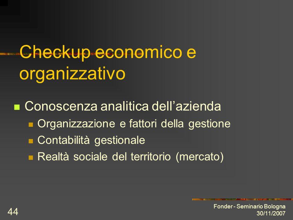 Fonder - Seminario Bologna 30/11/2007 44 Checkup economico e organizzativo Conoscenza analitica dellazienda Organizzazione e fattori della gestione Contabilità gestionale Realtà sociale del territorio (mercato)