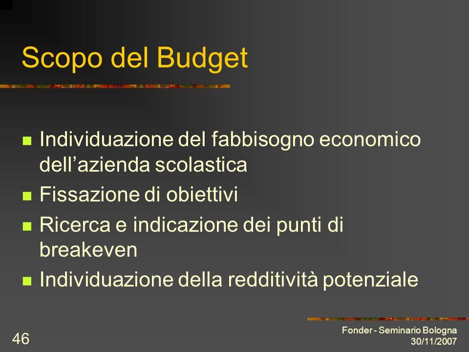 Fonder - Seminario Bologna 30/11/2007 46 Scopo del Budget Individuazione del fabbisogno economico dellazienda scolastica Fissazione di obiettivi Ricerca e indicazione dei punti di breakeven Individuazione della redditività potenziale