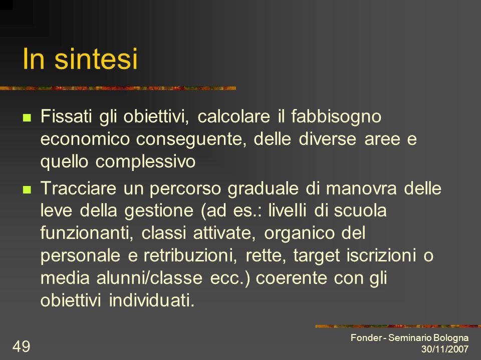 Fonder - Seminario Bologna 30/11/2007 49 In sintesi Fissati gli obiettivi, calcolare il fabbisogno economico conseguente, delle diverse aree e quello