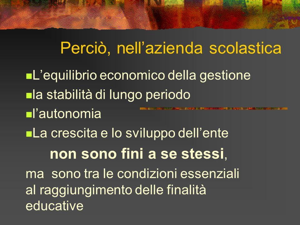 Perciò, nellazienda scolastica Lequilibrio economico della gestione la stabilità di lungo periodo lautonomia La crescita e lo sviluppo dellente non so