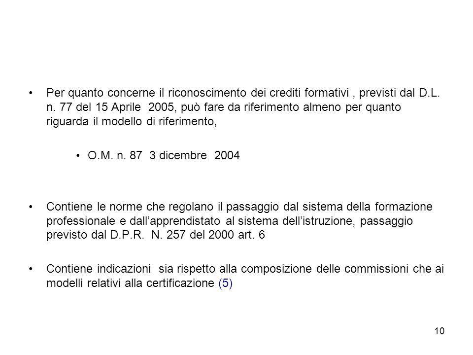 10 Per quanto concerne il riconoscimento dei crediti formativi, previsti dal D.L.