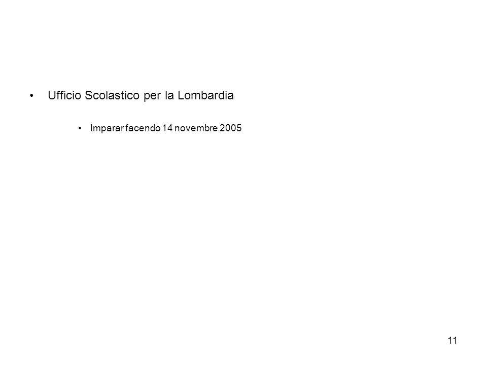 11 Ufficio Scolastico per la Lombardia Imparar facendo 14 novembre 2005