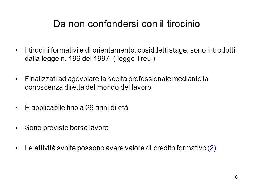 6 Da non confondersi con il tirocinio I tirocini formativi e di orientamento, cosiddetti stage, sono introdotti dalla legge n.