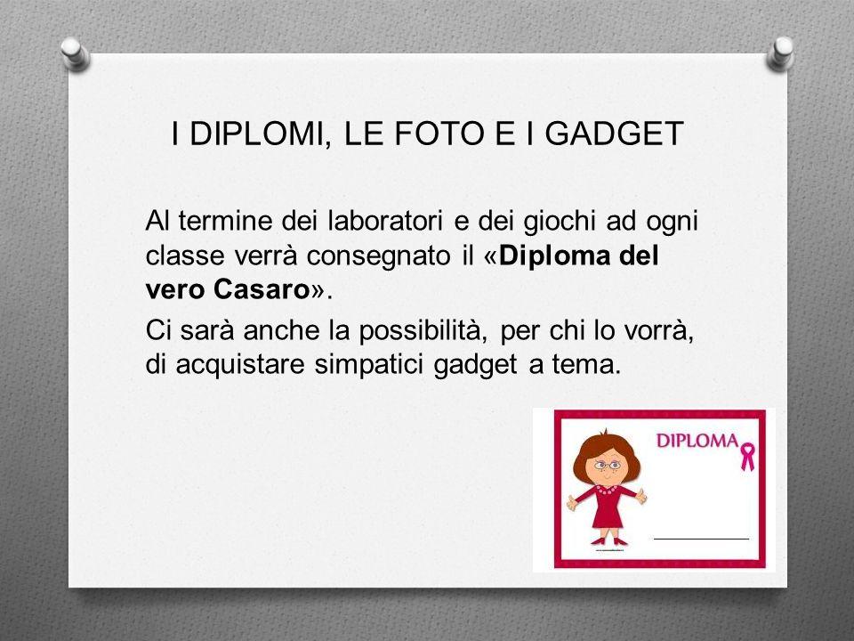 I DIPLOMI, LE FOTO E I GADGET Al termine dei laboratori e dei giochi ad ogni classe verrà consegnato il «Diploma del vero Casaro».