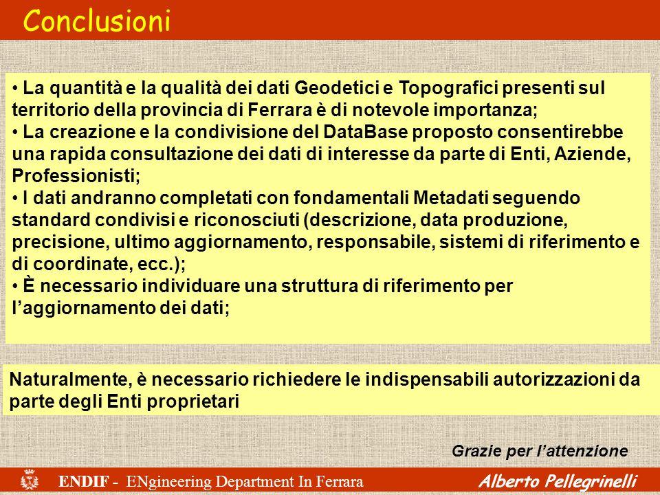 ENDIF - ENgineering Department In Ferrara Alberto Pellegrinelli Conclusioni La quantità e la qualità dei dati Geodetici e Topografici presenti sul ter
