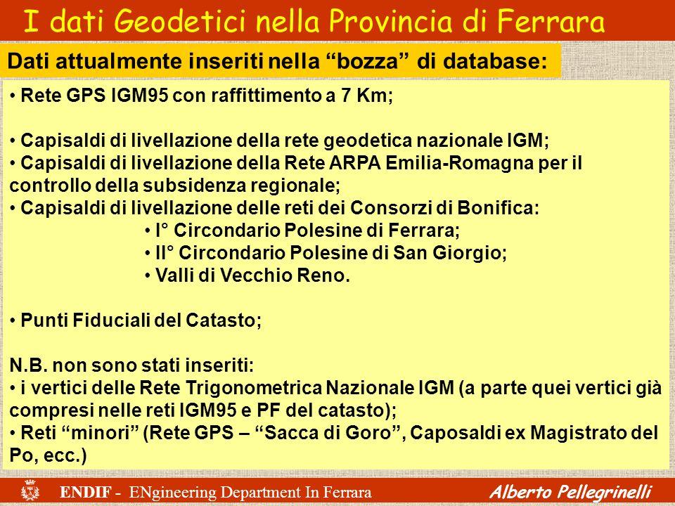 ENDIF - ENgineering Department In Ferrara Alberto Pellegrinelli I dati Geodetici nella Provincia di Ferrara Rete GPS IGM95 con raffittimento a 7 Km; C