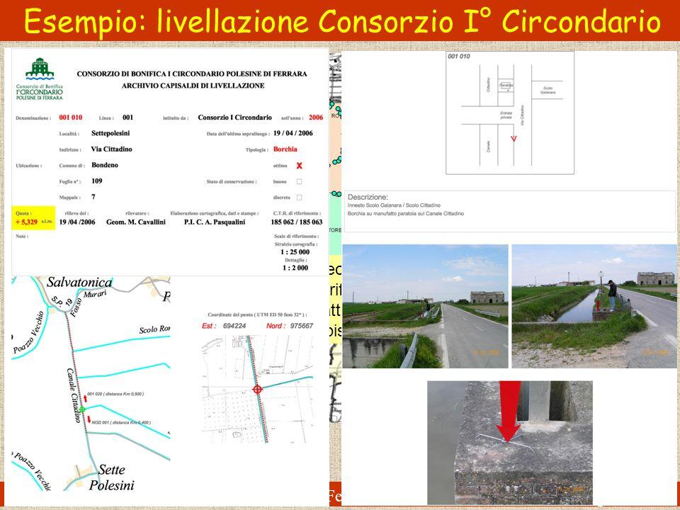 ENDIF - ENgineering Department In Ferrara Alberto Pellegrinelli Esempio: livellazione Consorzio I° Circondario Rete di livellazione geometrica di alta