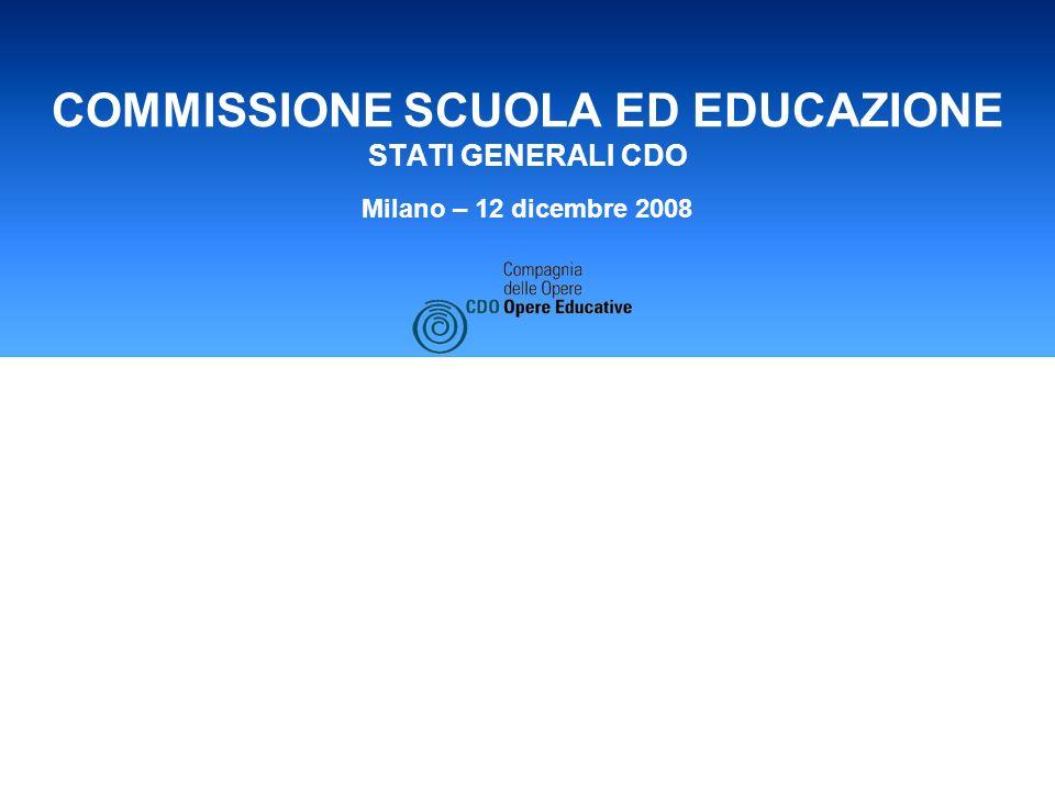 COMMISSIONE SCUOLA ED EDUCAZIONE STATI GENERALI CDO Milano – 12 dicembre 2008