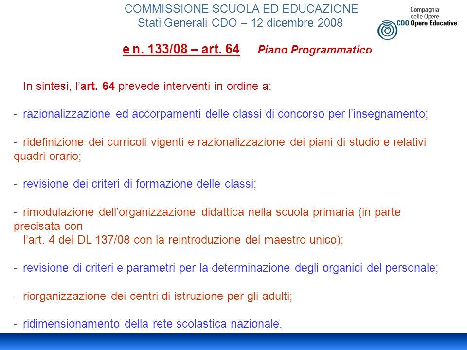 COMMISSIONE SCUOLA ED EDUCAZIONE Stati Generali CDO – 12 dicembre 2008 Legge n.