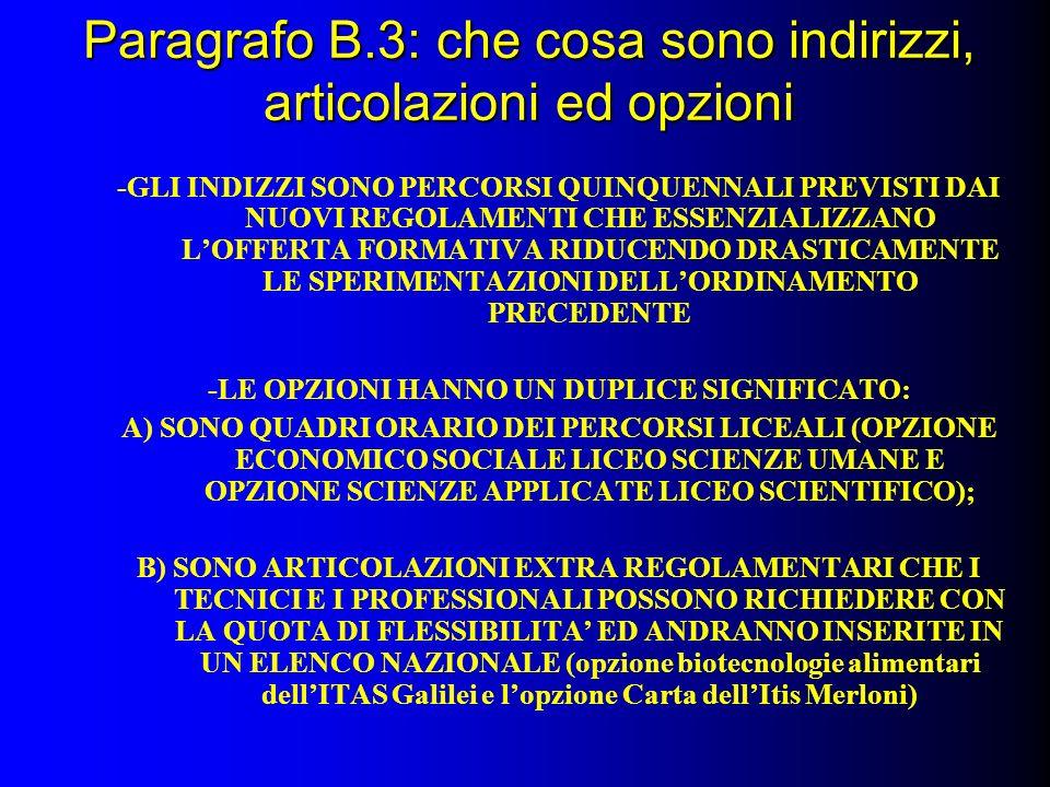 Paragrafo B.3: che cosa sono indirizzi, articolazioni ed opzioni -GLI INDIZZI SONO PERCORSI QUINQUENNALI PREVISTI DAI NUOVI REGOLAMENTI CHE ESSENZIALIZZANO LOFFERTA FORMATIVA RIDUCENDO DRASTICAMENTE LE SPERIMENTAZIONI DELLORDINAMENTO PRECEDENTE -LE OPZIONI HANNO UN DUPLICE SIGNIFICATO: A) SONO QUADRI ORARIO DEI PERCORSI LICEALI (OPZIONE ECONOMICO SOCIALE LICEO SCIENZE UMANE E OPZIONE SCIENZE APPLICATE LICEO SCIENTIFICO); B) SONO ARTICOLAZIONI EXTRA REGOLAMENTARI CHE I TECNICI E I PROFESSIONALI POSSONO RICHIEDERE CON LA QUOTA DI FLESSIBILITA ED ANDRANNO INSERITE IN UN ELENCO NAZIONALE (opzione biotecnologie alimentari dellITAS Galilei e lopzione Carta dellItis Merloni)