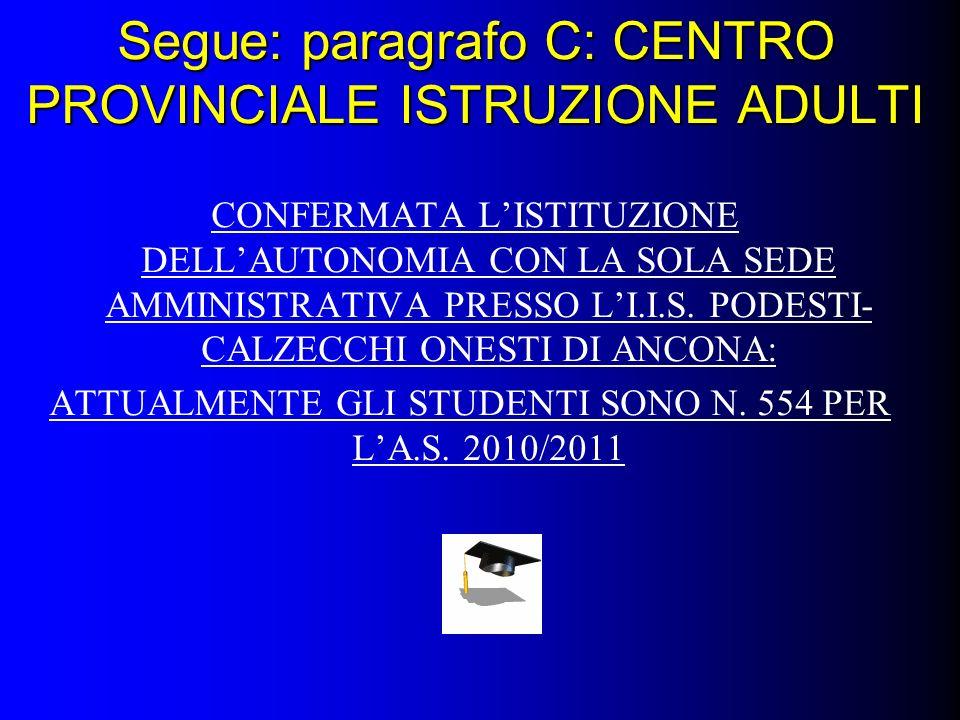 Segue: paragrafo C: CENTRO PROVINCIALE ISTRUZIONE ADULTI CONFERMATA LISTITUZIONE DELLAUTONOMIA CON LA SOLA SEDE AMMINISTRATIVA PRESSO LI.I.S.