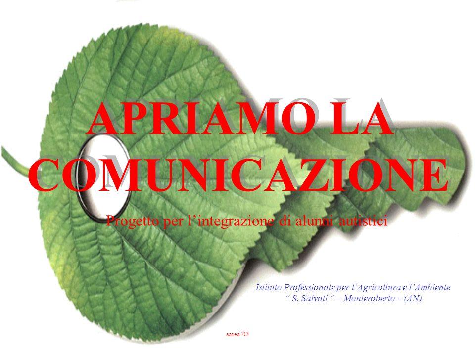 APRIAMO LA COMUNICAZIONE Istituto Professionale per lAgricoltura e lAmbiente S. Salvati – Monteroberto – (AN) Progetto per lintegrazione di alunni aut