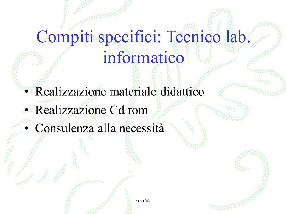 Realizzazione materiale didattico Realizzazione Cd rom Consulenza alla necessità Compiti specifici: Tecnico lab. informatico sarea03