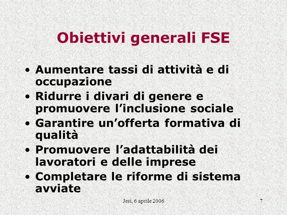 Jesi, 6 aprile 20067 Obiettivi generali FSE Aumentare tassi di attività e di occupazione Ridurre i divari di genere e promuovere linclusione sociale G