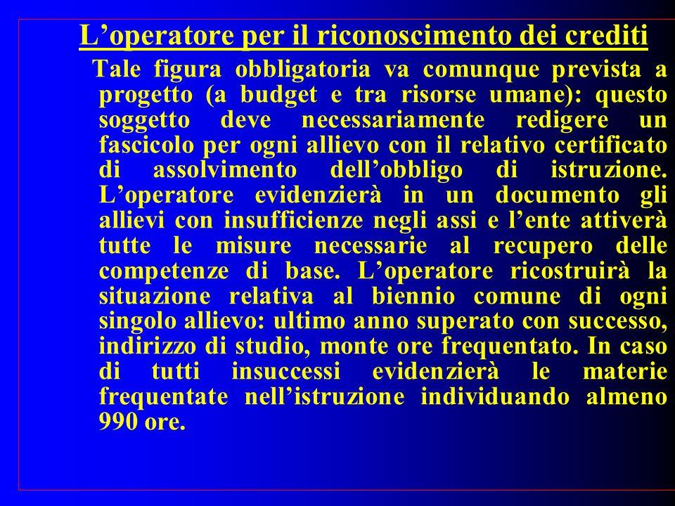 Loperatore per il riconoscimento dei crediti Tale figura obbligatoria va comunque prevista a progetto (a budget e tra risorse umane): questo soggetto
