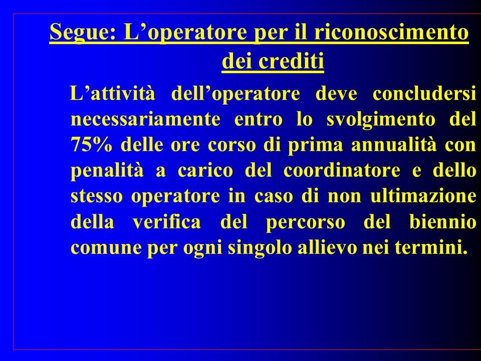 Segue: Loperatore per il riconoscimento dei crediti Lattività delloperatore deve concludersi necessariamente entro lo svolgimento del 75% delle ore co