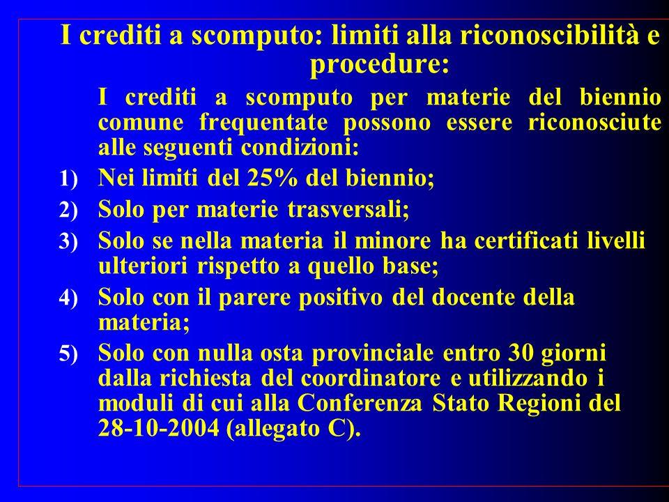 I crediti a scomputo: limiti alla riconoscibilità e procedure: I crediti a scomputo per materie del biennio comune frequentate possono essere riconosc