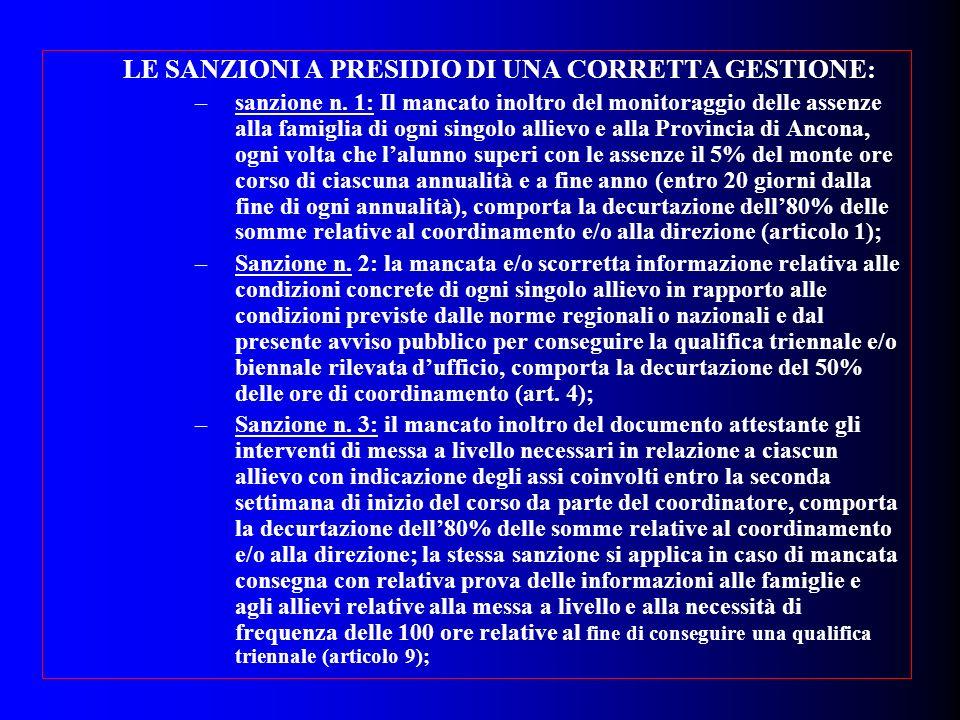 LE SANZIONI A PRESIDIO DI UNA CORRETTA GESTIONE: –sanzione n. 1: Il mancato inoltro del monitoraggio delle assenze alla famiglia di ogni singolo allie