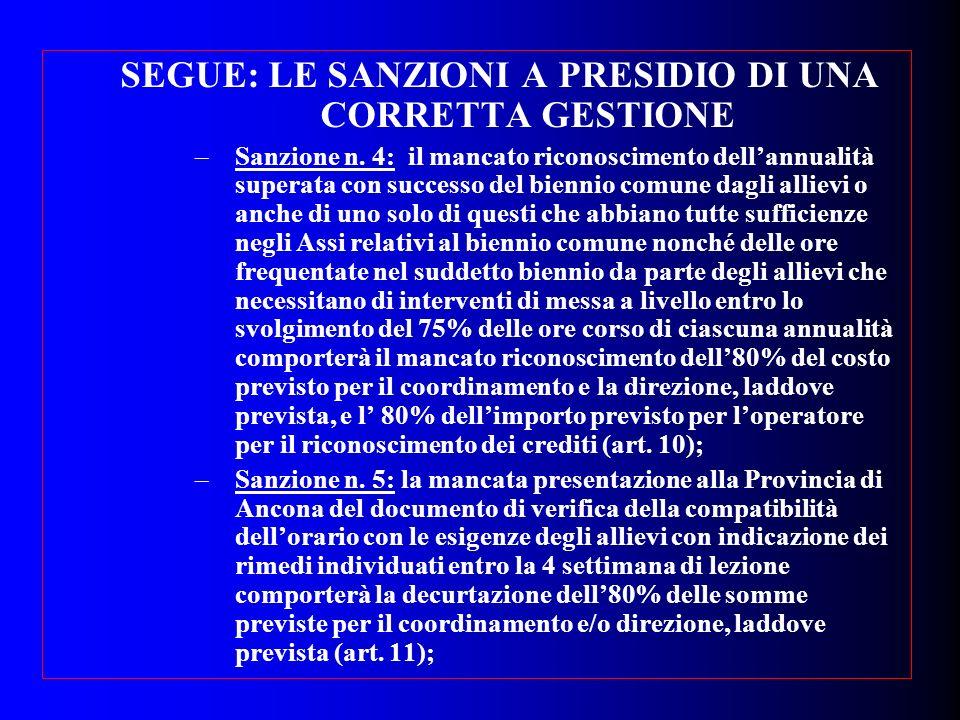SEGUE: LE SANZIONI A PRESIDIO DI UNA CORRETTA GESTIONE –Sanzione n. 4: il mancato riconoscimento dellannualità superata con successo del biennio comun