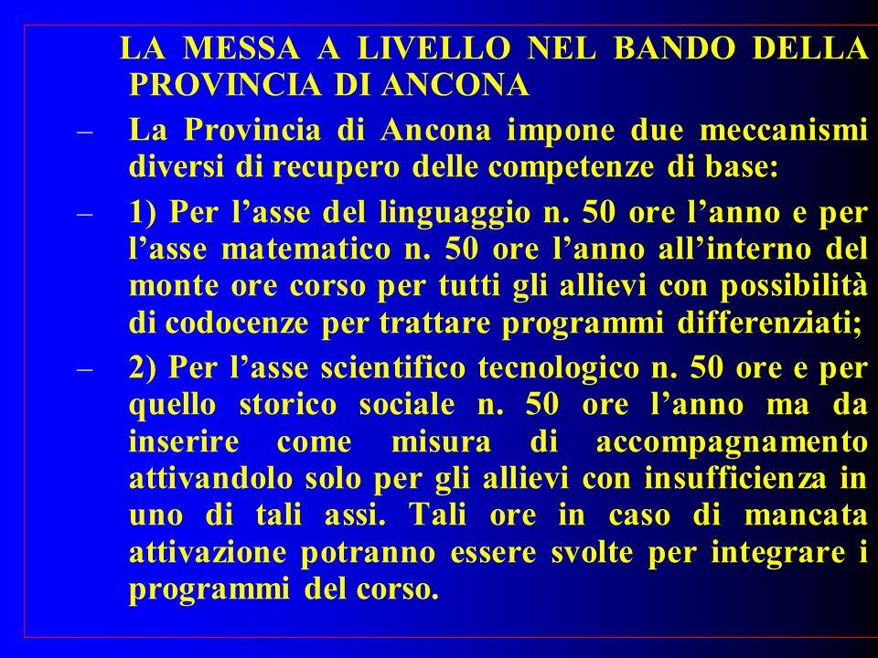LA MESSA A LIVELLO NEL BANDO DELLA PROVINCIA DI ANCONA – La Provincia di Ancona impone due meccanismi diversi di recupero delle competenze di base: – 1) Per lasse del linguaggio n.
