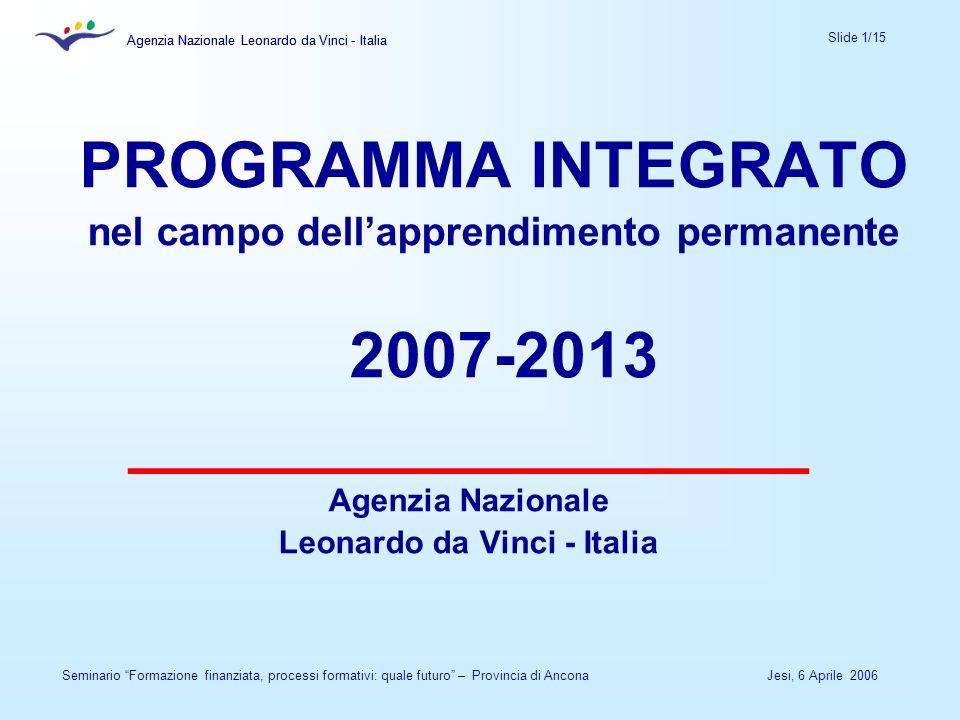 Agenzia Nazionale Leonardo da Vinci - Italia Slide 1/15 Agenzia Nazionale Leonardo da Vinci - Italia Jesi, 6 Aprile 2006Seminario Formazione finanziata, processi formativi: quale futuro – Provincia di Ancona PROGRAMMA INTEGRATO nel campo dellapprendimento permanente 2007-2013 ___________________ Agenzia Nazionale Leonardo da Vinci - Italia