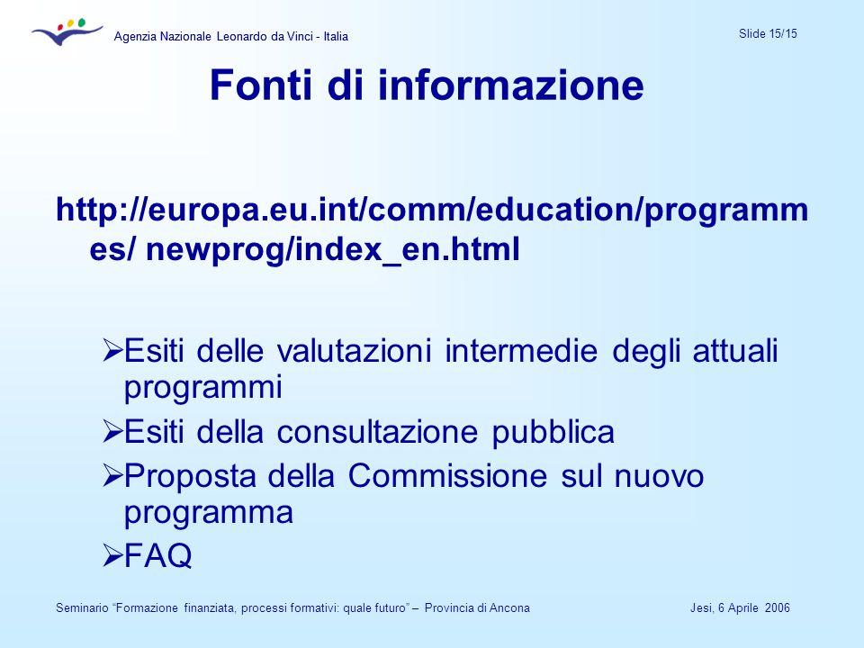 Agenzia Nazionale Leonardo da Vinci - Italia Slide 15/15 Agenzia Nazionale Leonardo da Vinci - Italia Jesi, 6 Aprile 2006Seminario Formazione finanzia