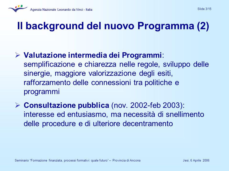 Agenzia Nazionale Leonardo da Vinci - Italia Slide 3/15 Agenzia Nazionale Leonardo da Vinci - Italia Jesi, 6 Aprile 2006Seminario Formazione finanziat