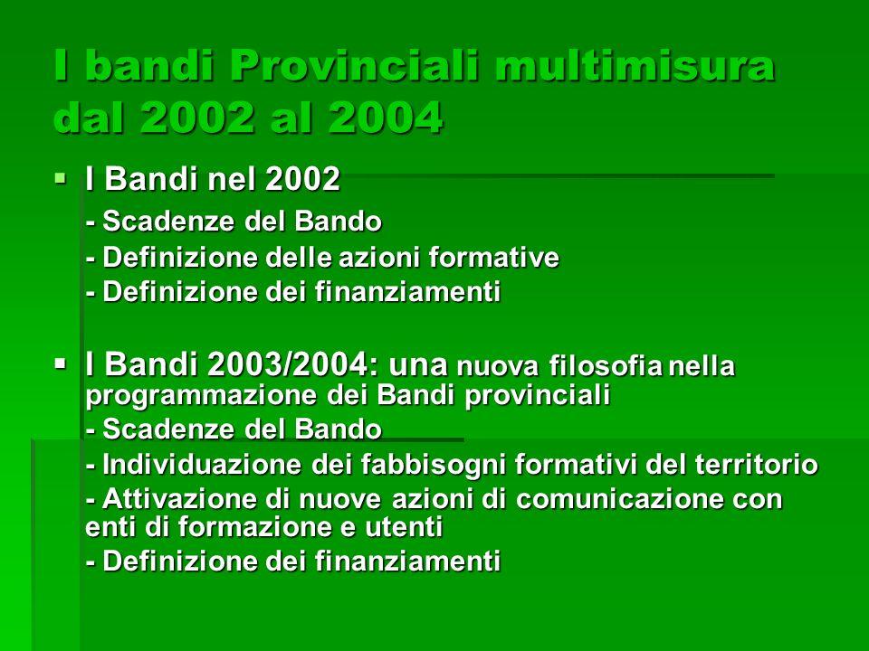 I bandi Provinciali multimisura dal 2002 al 2004 I Bandi nel 2002 I Bandi nel 2002 - Scadenze del Bando - Definizione delle azioni formative - Definiz