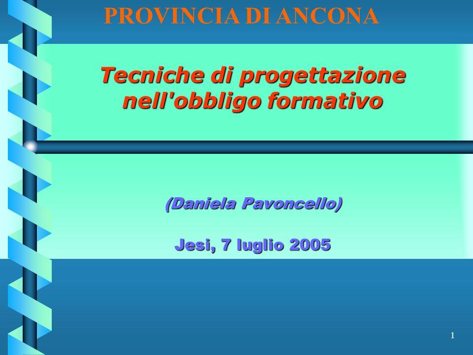 1 Tecniche di progettazione nell obbligo formativo (Daniela Pavoncello) Jesi, 7 luglio 2005 PROVINCIA DI ANCONA