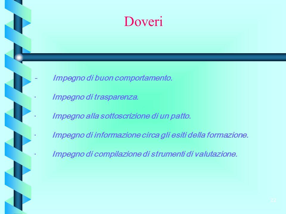 22 - Impegno di buon comportamento. · Impegno di trasparenza.