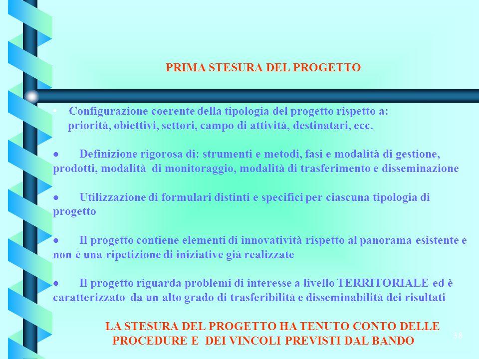 38 PRIMA STESURA DEL PROGETTO Configurazione coerente della tipologia del progetto rispetto a: priorità, obiettivi, settori, campo di attività, destinatari, ecc.