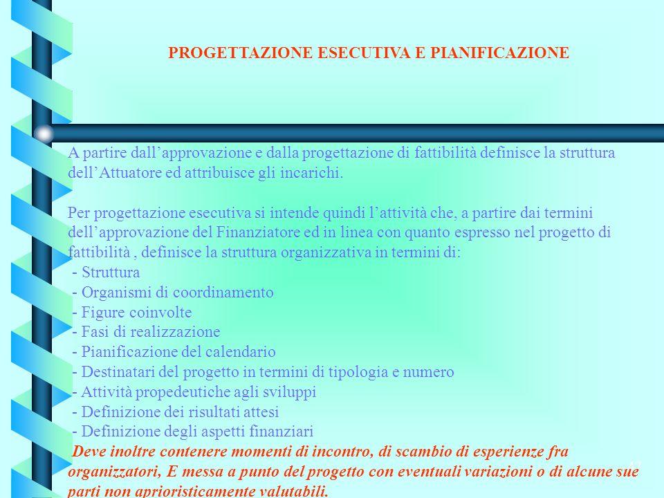 47 PROGETTAZIONE ESECUTIVA E PIANIFICAZIONE A partire dallapprovazione e dalla progettazione di fattibilità definisce la struttura dellAttuatore ed attribuisce gli incarichi.