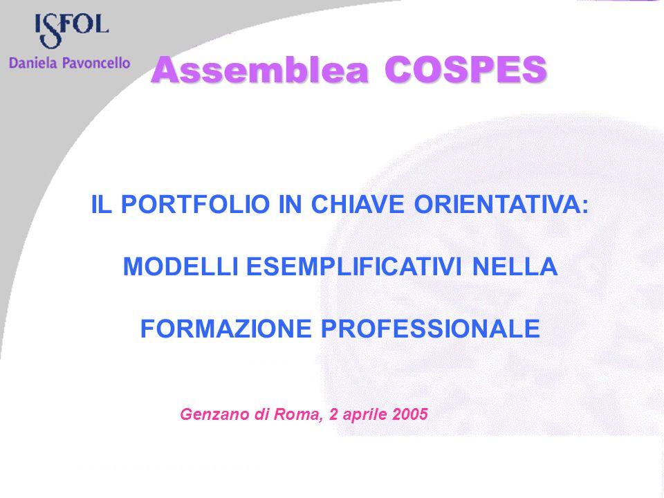 IL PORTFOLIO IN CHIAVE ORIENTATIVA: MODELLI ESEMPLIFICATIVI NELLA FORMAZIONE PROFESSIONALE Genzano di Roma, 2 aprile 2005 Assemblea COSPES