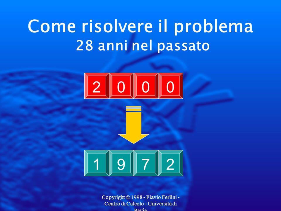 Copyright © 1998 - Flavio Ferlini - Centro di Calcolo - Università di Pavia Come risolvere il problema 28 anni nel passato 19722000