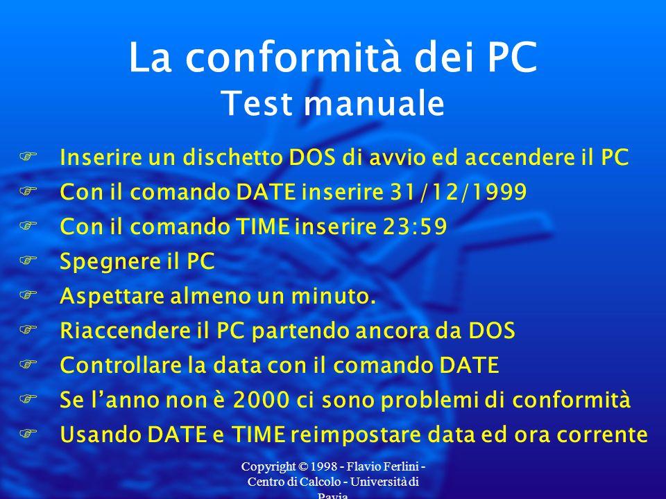 Copyright © 1998 - Flavio Ferlini - Centro di Calcolo - Università di Pavia FInserire un dischetto DOS di avvio ed accendere il PC FCon il comando DATE inserire 31/12/1999 FCon il comando TIME inserire 23:59 FSpegnere il PC FAspettare almeno un minuto.