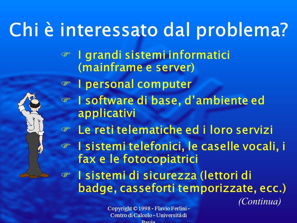 Copyright © 1998 - Flavio Ferlini - Centro di Calcolo - Università di Pavia Un esempio: i PC Dati da scambiare