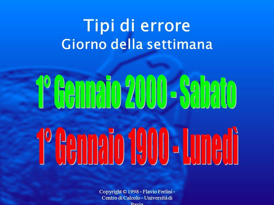 Copyright © 1998 - Flavio Ferlini - Centro di Calcolo - Università di Pavia La conformità dei PC Strumenti di controllo Utility gratuite agli indirizzi: Fwww.nstl.com/html/nstl/ymark2000.html Fwww.rigthtime.com Fwww.unicore.com/millennium.html Fwww.gmt-uta.com/welcome.cfm Fwww.zdnet.com/vlabs/y2k/testy2k.html Fwww.symantec.com/sabu/n2000/