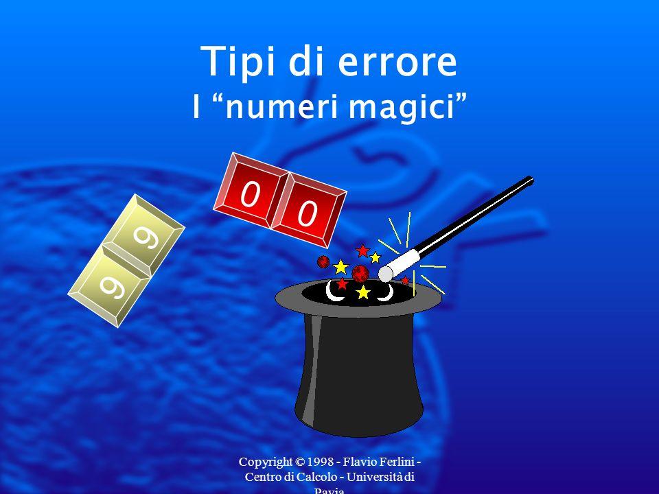Copyright © 1998 - Flavio Ferlini - Centro di Calcolo - Università di Pavia Tipi di errore Lanno come indice di matrice