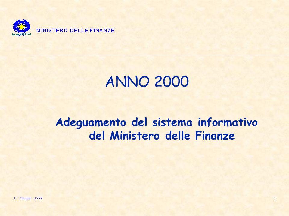1 17- Giugno -1999 ANNO 2000 Adeguamento del sistema informativo del Ministero delle Finanze
