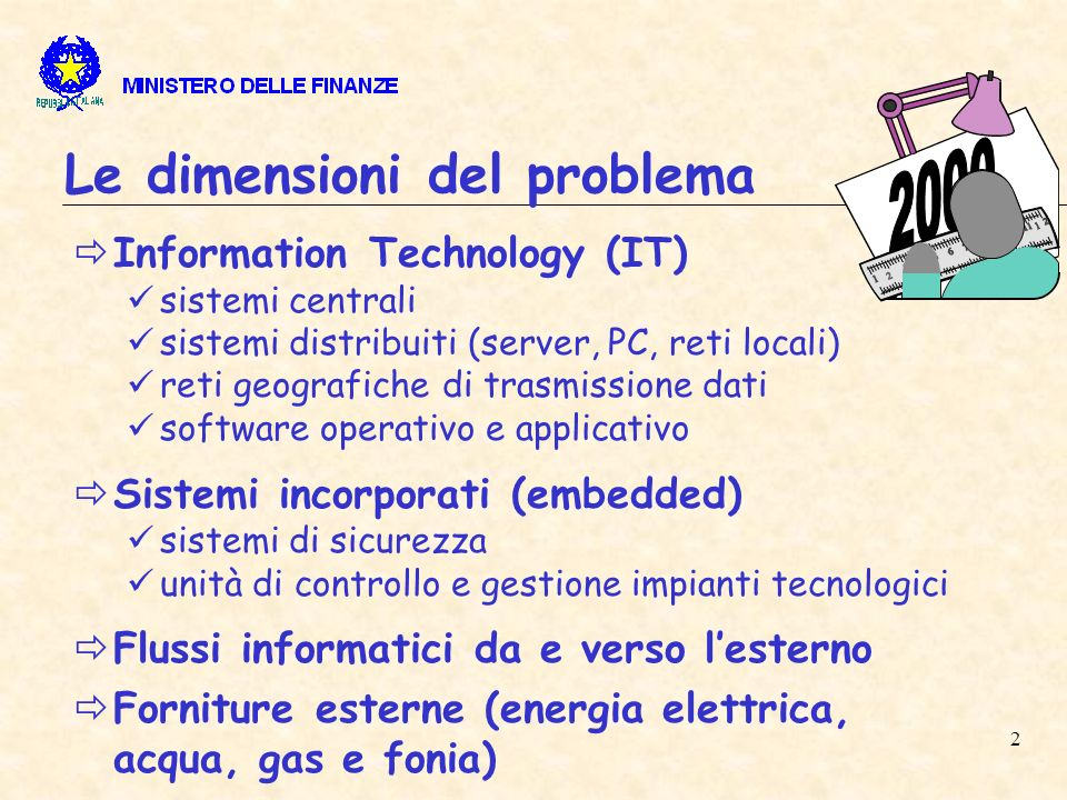 2 Le dimensioni del problema Information Technology (IT) sistemi centrali sistemi distribuiti (server, PC, reti locali) reti geografiche di trasmissione dati software operativo e applicativo Sistemi incorporati (embedded) sistemi di sicurezza unità di controllo e gestione impianti tecnologici Flussi informatici da e verso lesterno Forniture esterne (energia elettrica, acqua, gas e fonia)