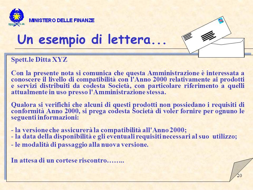 20 Un esempio di lettera...