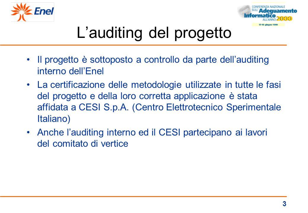3 Lauditing del progetto Il progetto è sottoposto a controllo da parte dellauditing interno dellEnel La certificazione delle metodologie utilizzate in tutte le fasi del progetto e della loro corretta applicazione è stata affidata a CESI S.p.A.