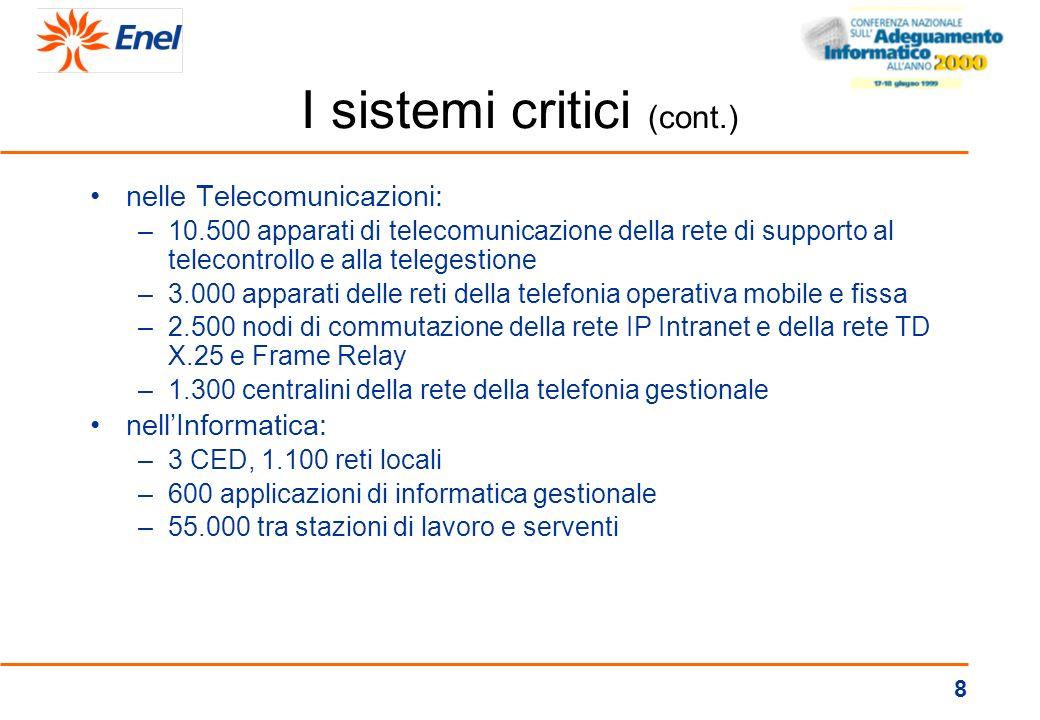 7 I sistemi critici nella Produzione: –15 posti di teleconduzione –800 tra protezioni elettriche, sistemi elaborazione blocchi, sistemi di controllo i