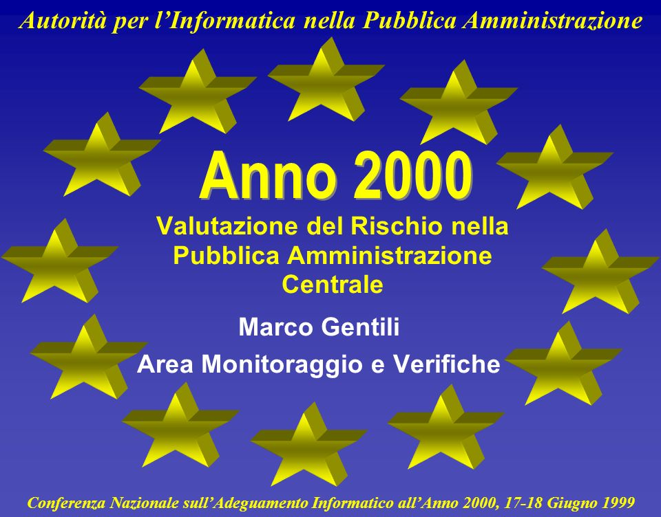 Autorità per lInformatica nella Pubblica Amministrazione 21 Applicazioni e Procedure - Marzo 1999 Rischio per la Missione