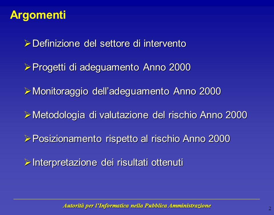 Autorità per lInformatica nella Pubblica Amministrazione Conferenza Nazionale sullAdeguamento Informatico allAnno 2000, 17-18 Giugno 1999 Valutazione del Rischio nella Pubblica Amministrazione Centrale Marco Gentili Area Monitoraggio e Verifiche Anno 2000