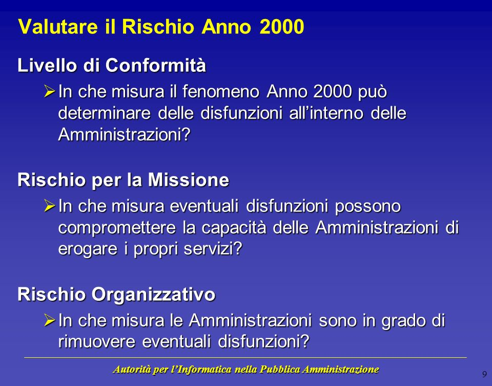 Autorità per lInformatica nella Pubblica Amministrazione 8 Monitoraggio Anno 2000 - Attività Primaria Responsabilità Secondaria Responsabilità PA Avvi